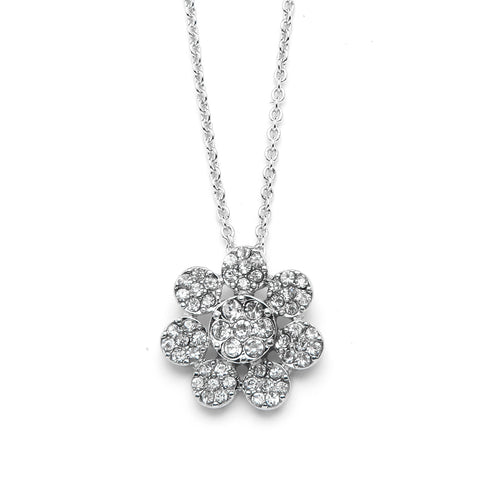 Flower Pendant Necklace with Premium CZ