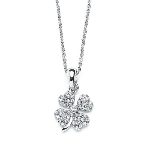 Small Clover Pendant Necklace with Premium CZ