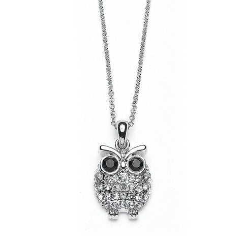 Owl Pendant Necklace with Premium CZ