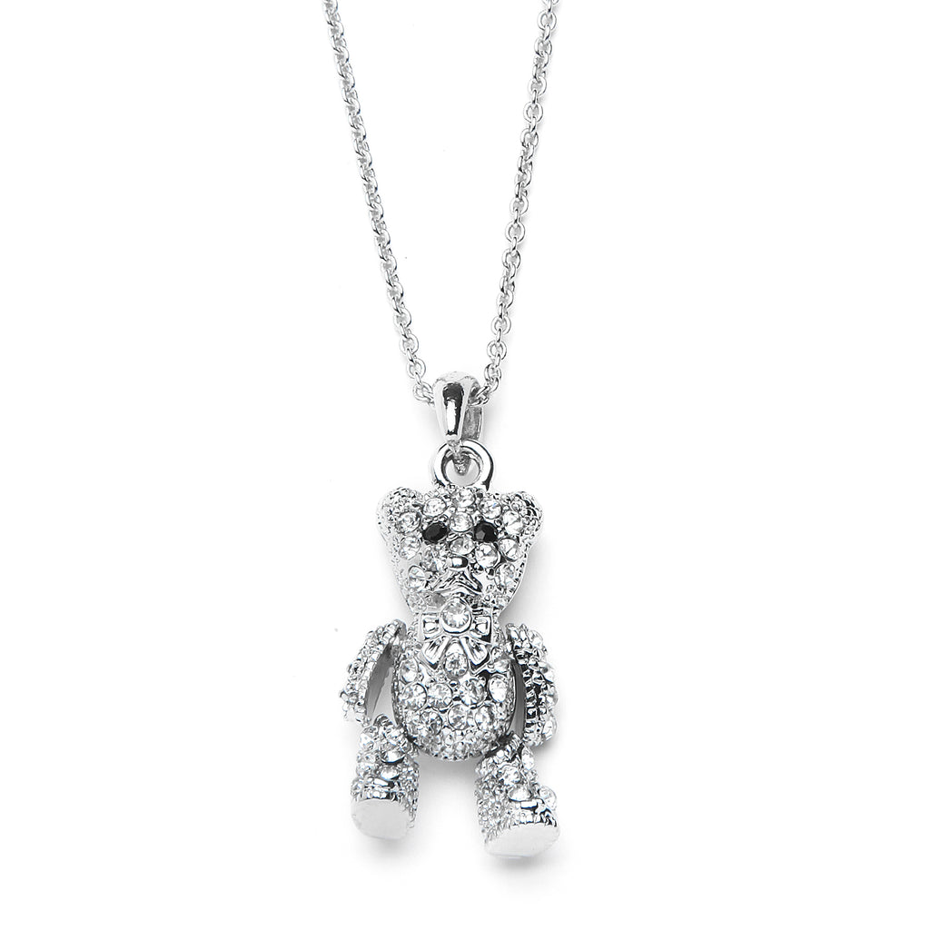 Teddy Bear Pendant Necklace with Premium CZ