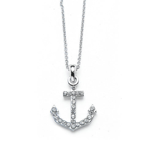 Nautical Anchor Pendant Necklace with Premium CZ