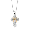 two Tone  Cross Pendant Necklace with Premium CZ