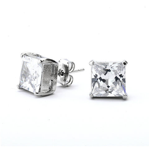 Princess Cut Grade AAAAA CZ Stud Earring
