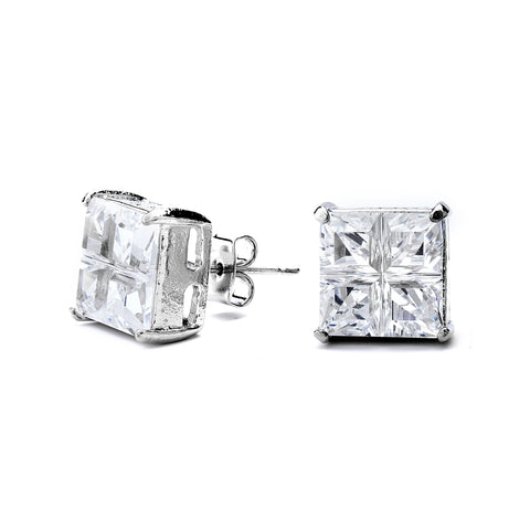 Princess Cross Cut Grade AAAAA CZ Stud Earring