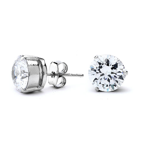 Grade AAAAA CZ 3 Prong Setting Stud Earrings
