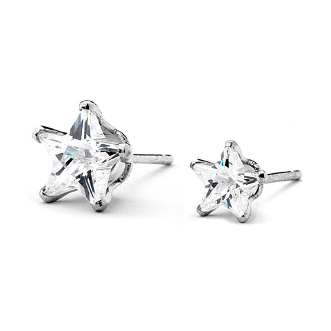 Small Star CZ Stud Earrings