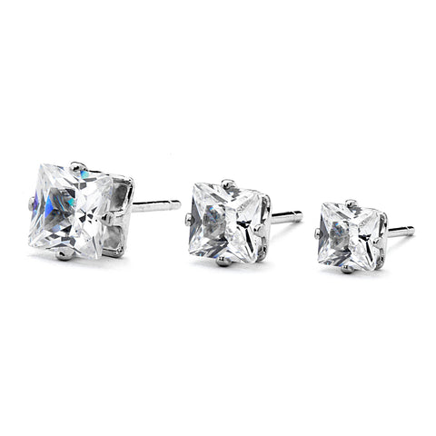 Mini Square CZ Four Prong Stud Earrings