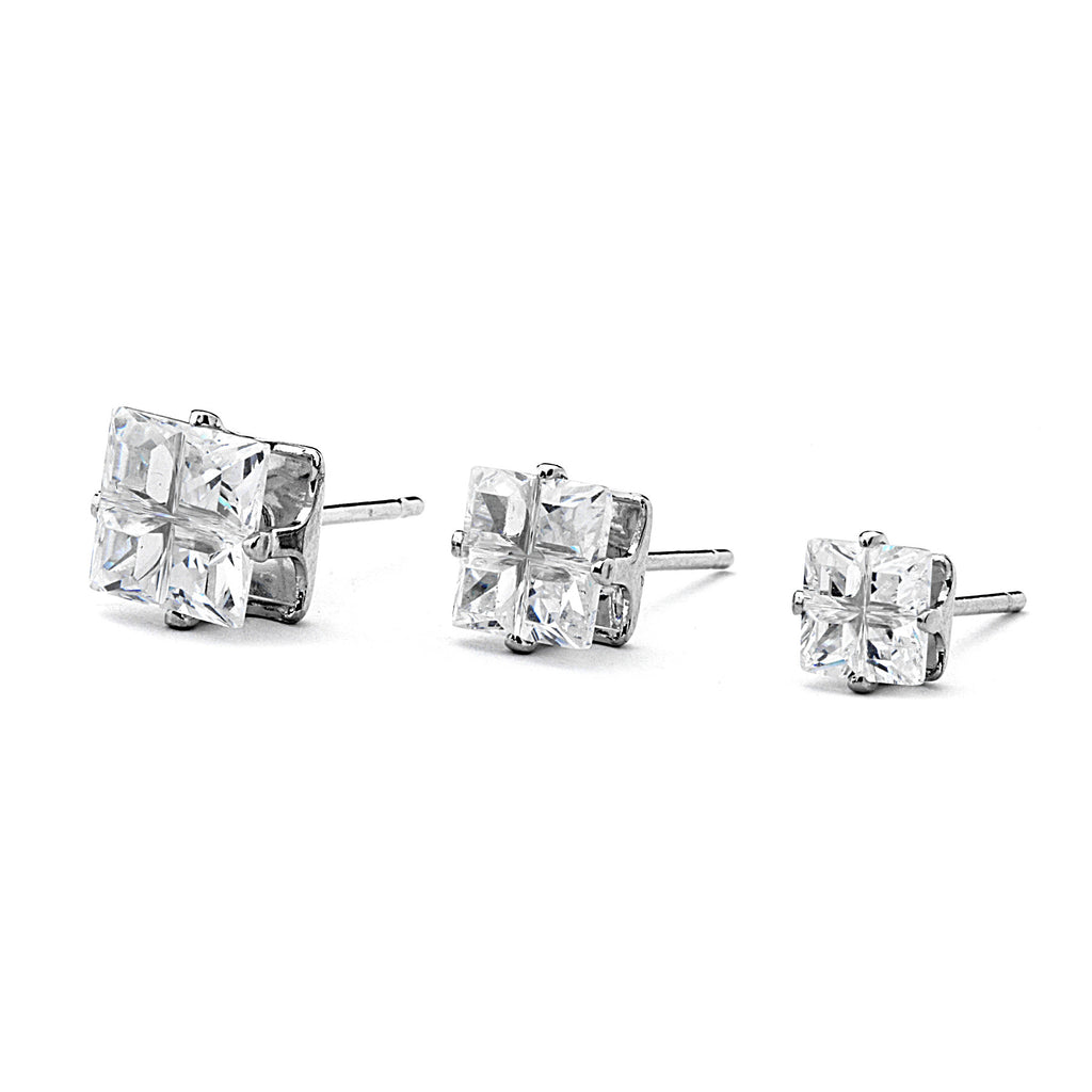 Mini Princess Cross Cut CZ Four Prong Stud Earrings
