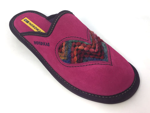 Nordikas 8130 Heart Women's Suede Mule Slip On Slipper