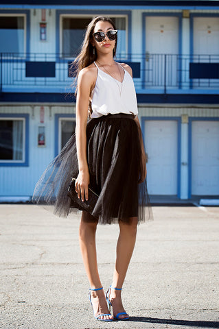 Black Knee Length Tulle Tutu Skirt