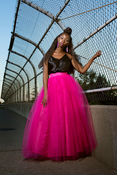 Hot Pink Tulle Maxi Skirt