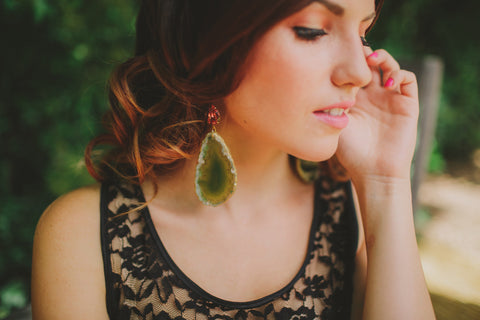 Peach Tear Drop and Green Druzy Earrings