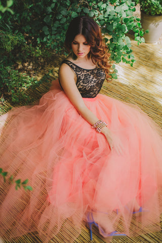 Coral Maxi Tulle Skirt Floor Length