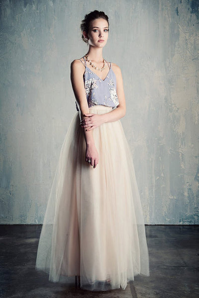 Champagne Blush Tulle Wedding Skirt Maxi / Floor Length