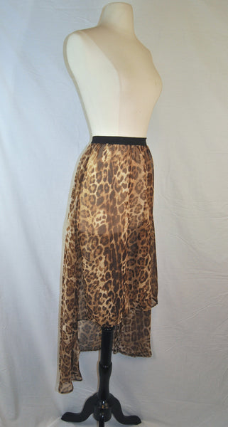 Leopard Print Chiffon High Low Skirt
