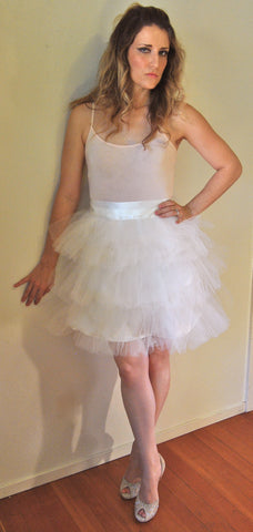 The Bradshaw 3 Layer Tulle Skirt in Ivory