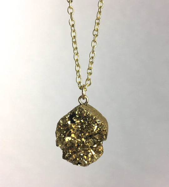 Gold Pyrite Pendant Necklace