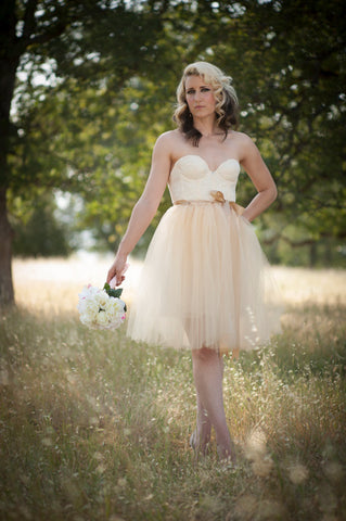 Champagne Tulle Tutu Skirt Knee Length/Midi with Satin Sash