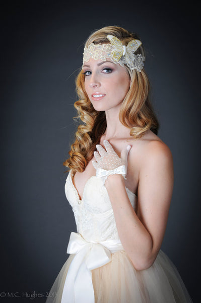 Ivory Crochet/Filet/Fishnet Bridal Gloves with Satin Bows/Pearls