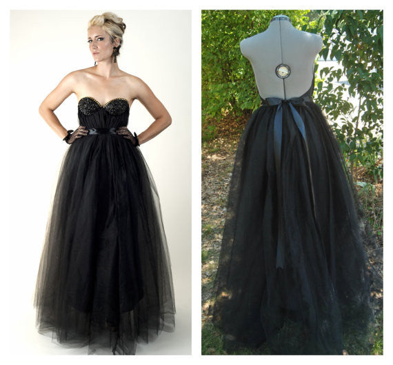 The Reckoner Bustier Gown in Black Tulle w/Gold Rhinestones