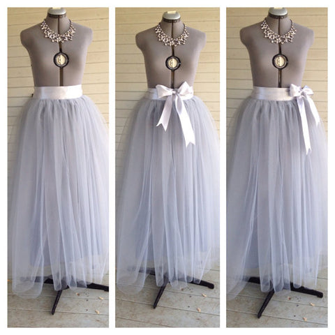 Floor Length Adult grey/gray silver Tulle Tutu Skirt Satin Ribbon Sash