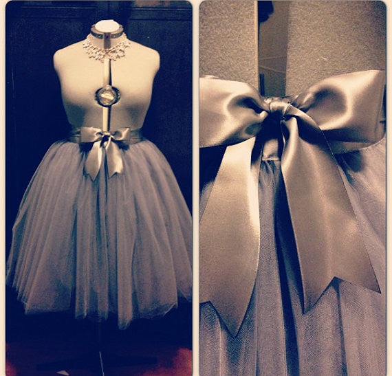 Charcoal/Pewter grey/gray Tea Length or Floor Length Tutu Skirt with Satin Sash Bridesmaids