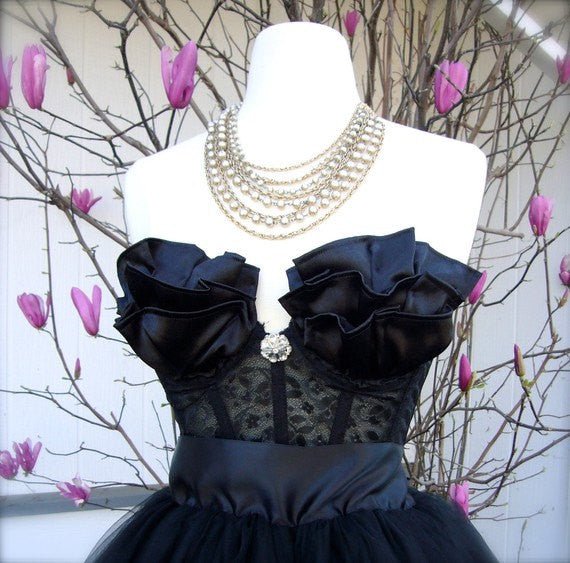 Black Satin Ruffled Lace Bustier Top with Rhinestone Brooch