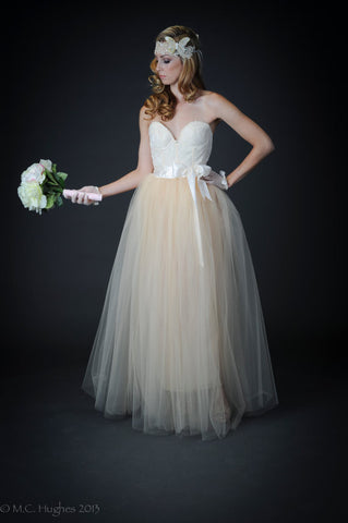 The Champagne Dreams Lace Bustier Pearl Tutu Wedding Dress/Gown 2 pc