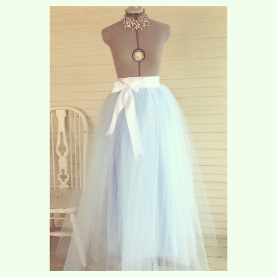 Customize your Colors Floor Length/Tea Length Adult Tulle Tutu Skirt with Satin Ribbon Sash