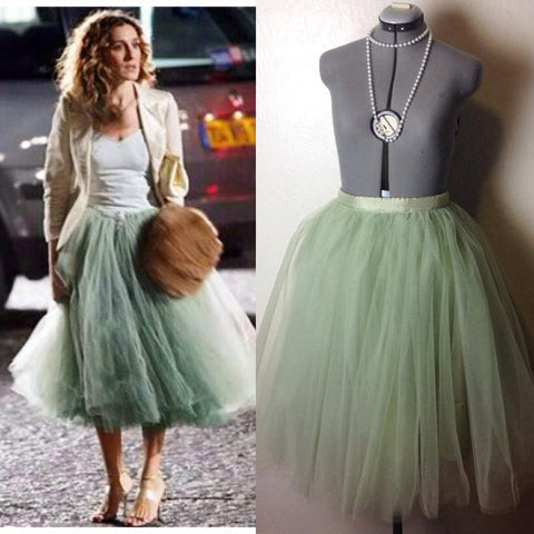 Carrie Bradshaw Sage Green Tulle Tutu Skirt Knee Length