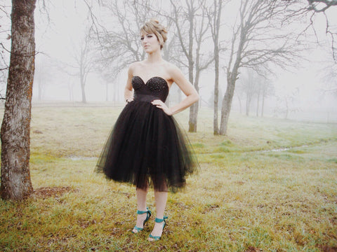 Black Bustier Dress Tulle Tutu Knee Length