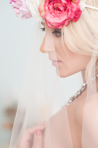 White and Pink Bridal Flower Crown