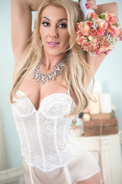 Ivory Lace and Pearl Bridal Bustier