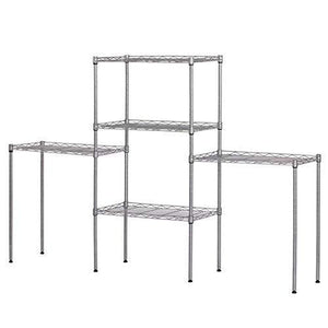 Buy 5 tier wire shelving units heavy duty adjustable stacking shelves storage rack organizer for laundry bathroom kitchen pantry us stock