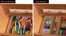 Load image into Gallery viewer, Get hossejoy bamboo drawer divider kitchen drawer organizer spring adjustable expendable drawer dividers best dividers for kitchen dresser bedroom baby drawer bathroom desk pack of 4