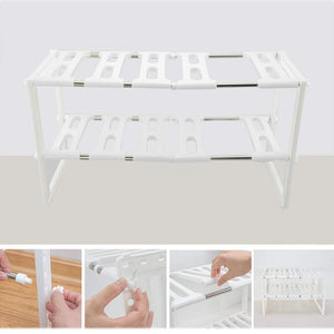 2 Tier Kitchen Shelf Organizers Rack, Meoket Classic Korean-style Adjustable Bathroom Cabinet Shelf Organizer Stainless Steel Storage Rack Expandable Under Sink Organizer White, US STOCK