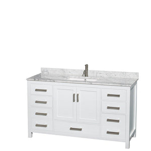 Select nice wyndham collection sheffield 60 inch single bathroom vanity in white white carrera marble countertop undermount square sink and 58 inch mirror