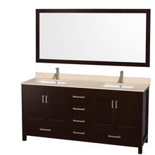 Load image into Gallery viewer, Home wyndham collection sheffield 72 inch double bathroom vanity in espresso ivory marble countertop undermount square sinks and 70 inch mirror