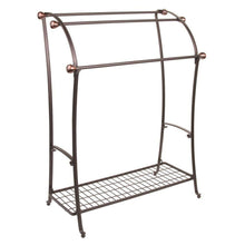 Load image into Gallery viewer, Amazon best mdesign large freestanding towel rack holder with storage shelf 3 tier metal organizer for bath hand towels washcloths bathroom accessories bronze warm brown