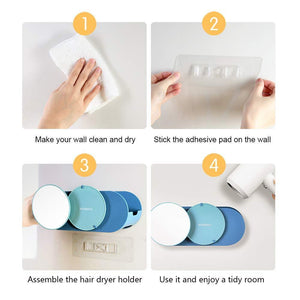 Buy now boomjoy hair dryer holder wall mount hair styling tolls organizer blower dryer holder no drilling bathroom storage blue