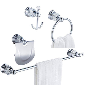 Select nice wolibeer silver bathroom accessory set of 4 pieces towel hook towel rail towel holder roll tissue holder wall mounted zinc alloy construction with crystal chrome finished