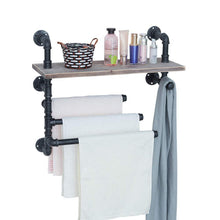 Load image into Gallery viewer, Top industrial towel rack with 3 towel bar 24in rustic bathroom shelves wall mounted farmhouse black pipe shelving wood shelf metal floating shelves towel holder iron distressed shelf over toilet