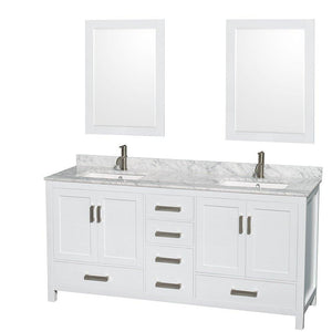 Kitchen wyndham collection sheffield 72 inch double bathroom vanity in white white carrera marble countertop undermount square sinks and 24 inch mirrors