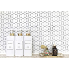 Load image into Gallery viewer, Related harra home modern gold design pump bottle set 27 oz refillable shampoo and conditioner dispenser empty shower plastic bottles with pump for bathroom lotion body wash massage oils pack of 3 white