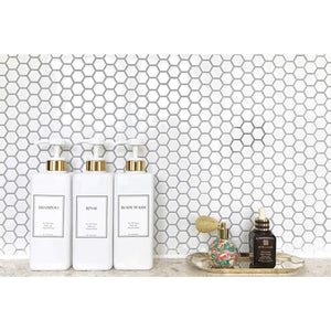 Related harra home modern gold design pump bottle set 27 oz refillable shampoo and conditioner dispenser empty shower plastic bottles with pump for bathroom lotion body wash massage oils pack of 3 white