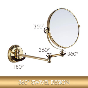 Explore makeup mirror wall mount 8 inch dual side with 1x 5x magnification bathroom magnifying mirror two side 360 swivel cosmetic face mirror extendable vanity mirrors luxury brass gold marmolux acc