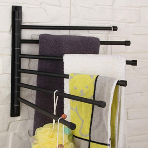 On amazon gerz bathroom swing arm towel bars wall mount bath towel rack with 6 arms hanger towel holder organizer sus 304 stainless steel matte black