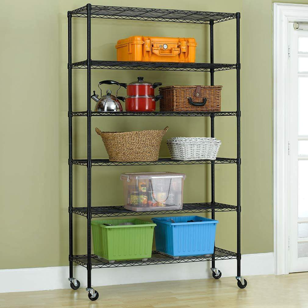 Top bestoffice 6 tier wire shelving unit heavy duty height adjustable nsf certification utility rolling steel commercial grade with wheels for kitchen bathroom office 2100lbs capacity 18x48x82 black