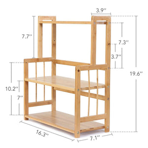 Featured 3 tier standing spice rack little tree kitchen bathroom countertop storage organizer bamboo spice bottle jars rack holder with adjustable shelf bamboo