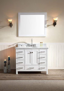 Best ariel cambridge a043s wht 43 single sink solid wood bathroom vanity set in grey with white 1 5 carrara marble countertop